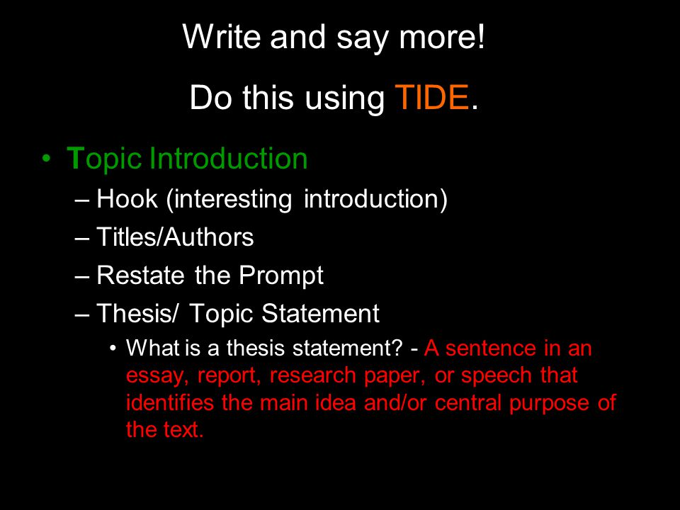what does restate the thesis statement mean Guides your essay the following three components are one way to think about a complete thesis: • position does your thesis take a clear position on the question the prompt is it is an unnecessary, indirect statement get directly this shared familiarity means you do not need to restate the entire prompt, to give historical.