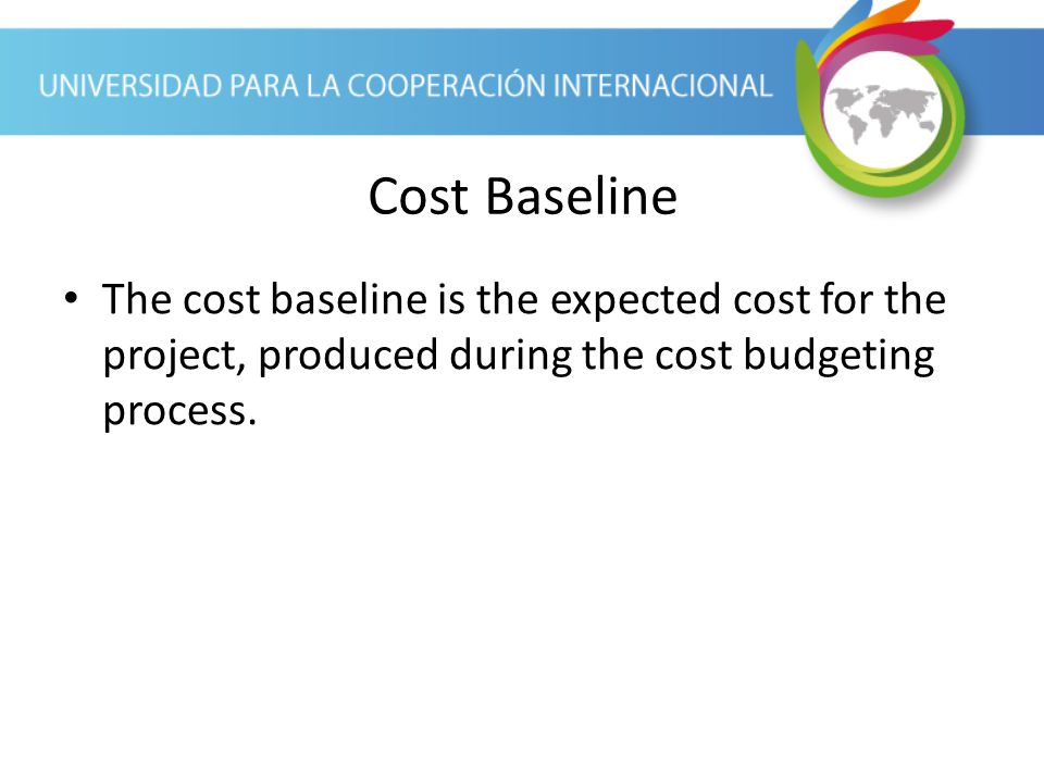 Cost Baseline The cost baseline is the expected cost for the project, produced during the cost budgeting process.