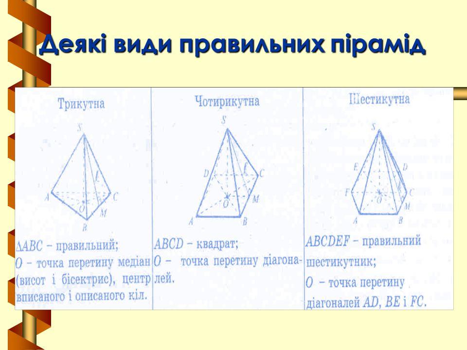 Деякі види правильних пірамід