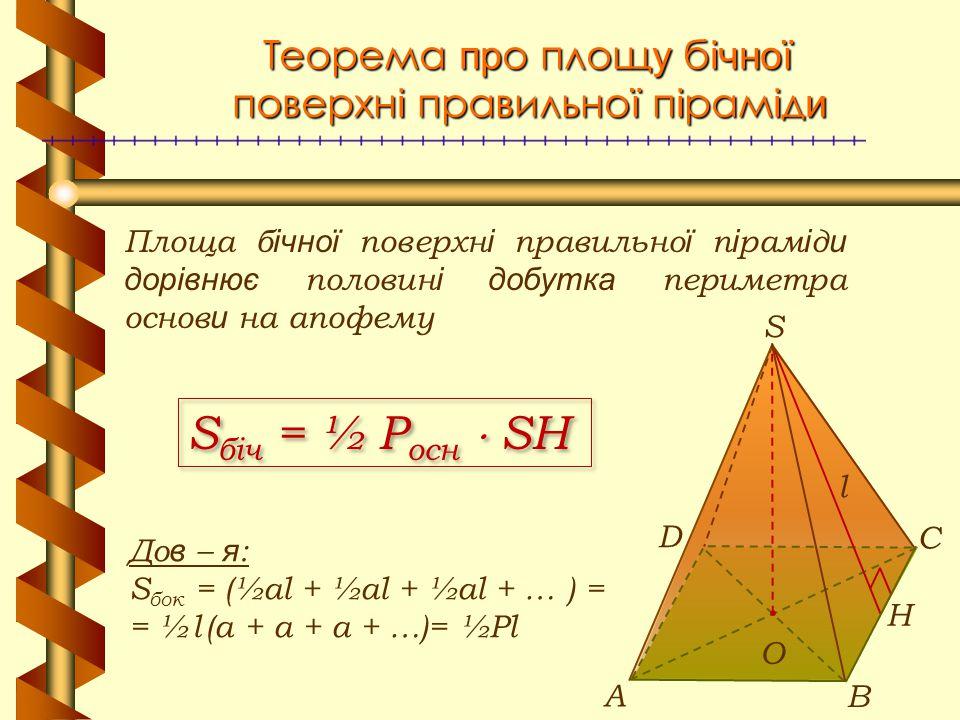 Теорема про площу бічної поверхні правильної піраміди