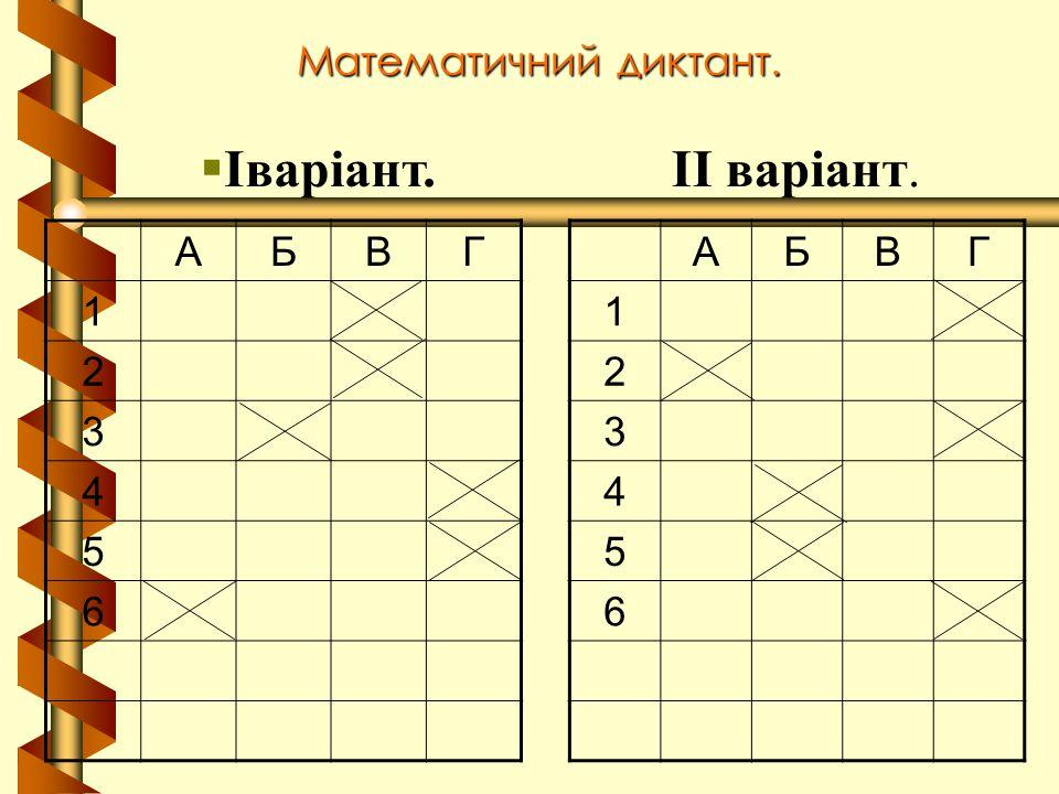 Іваріант. ІІ варіант. Математичний диктант. А Б В Г 1 2 3 4 5 6 А Б В