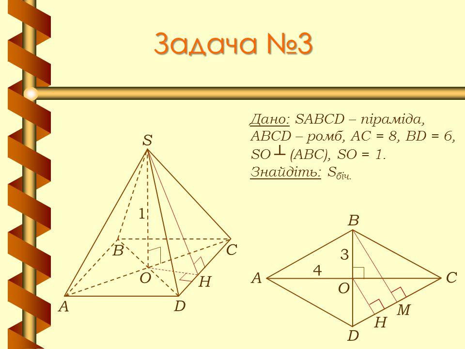 Задача №3 А В С D S O 1 H А В С D O H 4 3 М Дано: SABCD – піраміда,