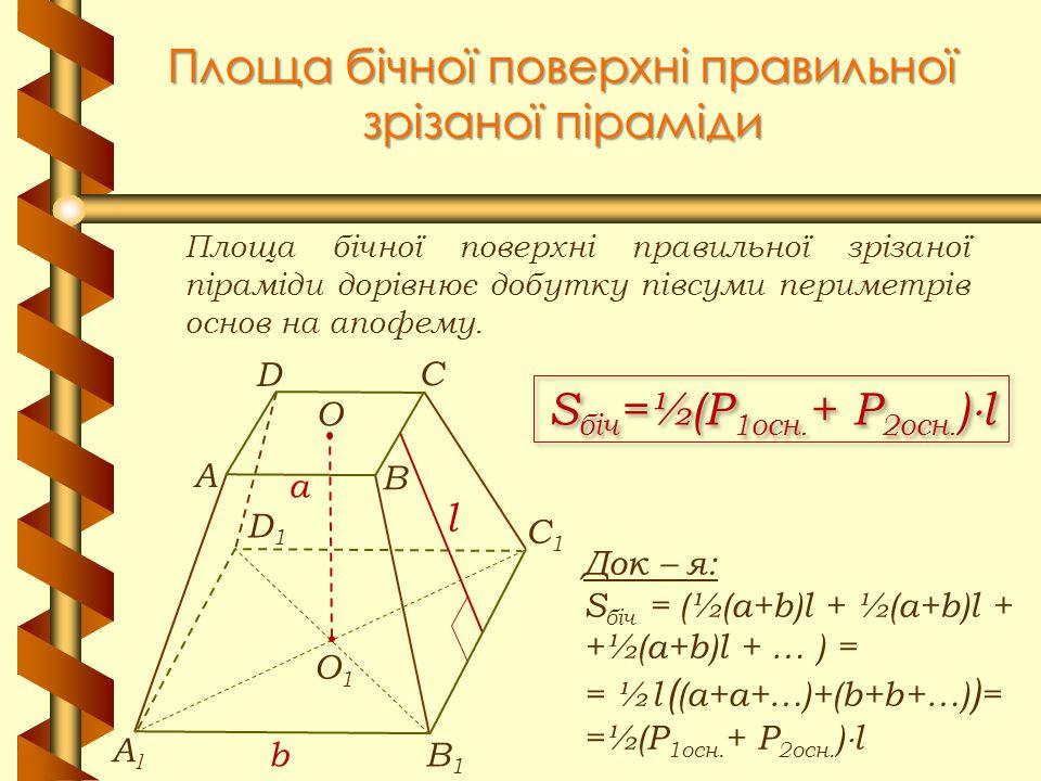 Площа бічної поверхні правильної зрізаної піраміди