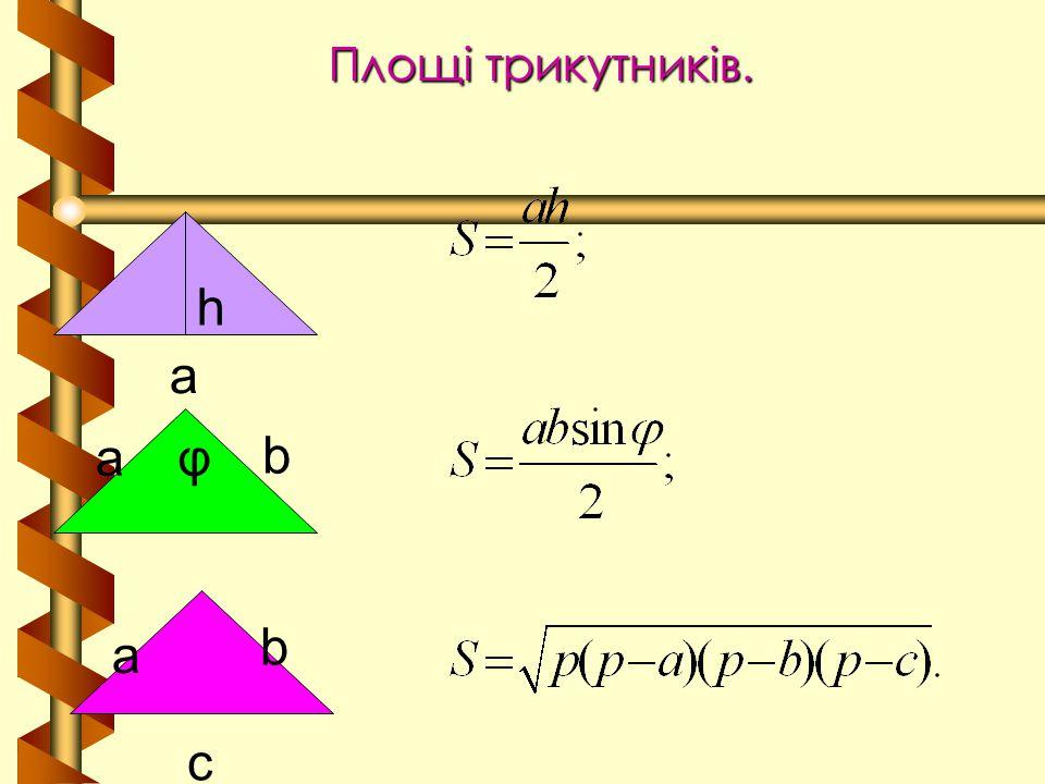 Площі трикутників. h a a φ b b a c