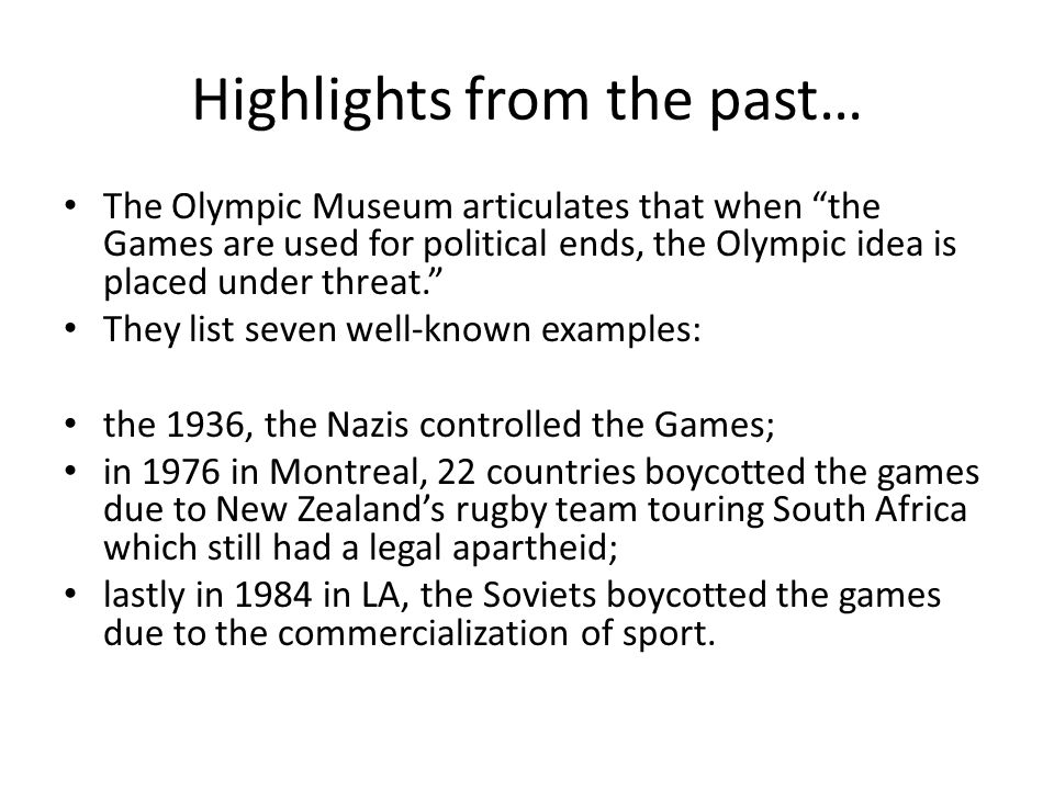 the influence of politics on sport on the example of the olympic games Slogan 'keep politics out of sport', which is the battle-cry for one side of a common   1956 olympics, when six nations withdrew from the games in protest over the  hungarian  sation by arguing, with the help of a long list of examples, that sport  has become  further in this paper may affect the athletic endeavour indirectly.