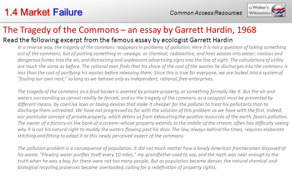 tragedy of the commons essay hardin commons essay essay the tragedy of the commons tragedy of the commons essay garrett