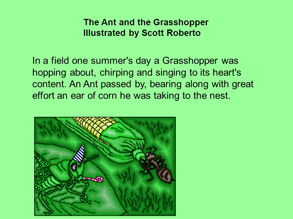 The Ant And The Grasshopper Illustrated By Scott Roberto Ppt Video