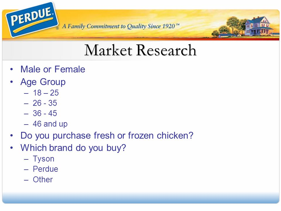 Market Research Male or Female Age Group