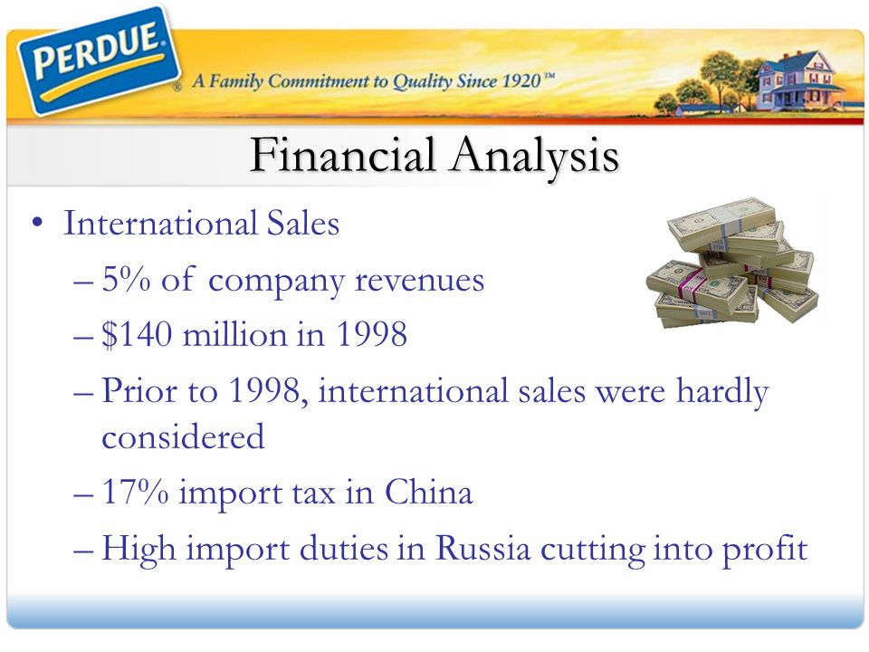 Financial Analysis International Sales 5% of company revenues