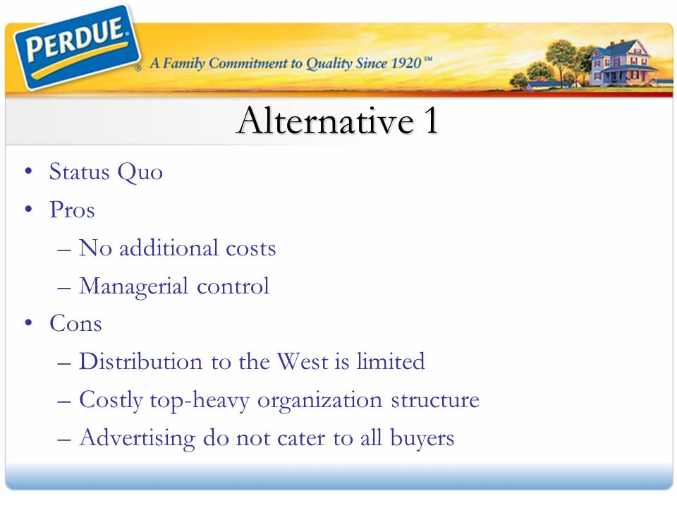 Alternative 1 Status Quo Pros No additional costs Managerial control