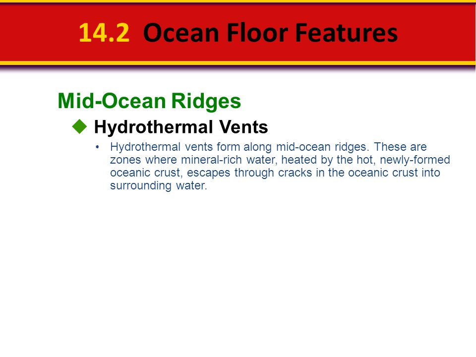 14.2 Ocean Floor Features Mid-Ocean Ridges  Hydrothermal Vents