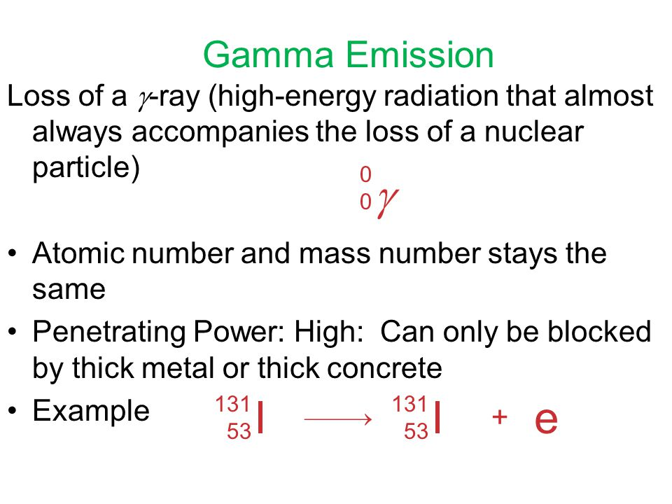 Gamma Emission Loss of a -ray (high-energy radiation that almost always accompanies the loss of a nuclear particle)