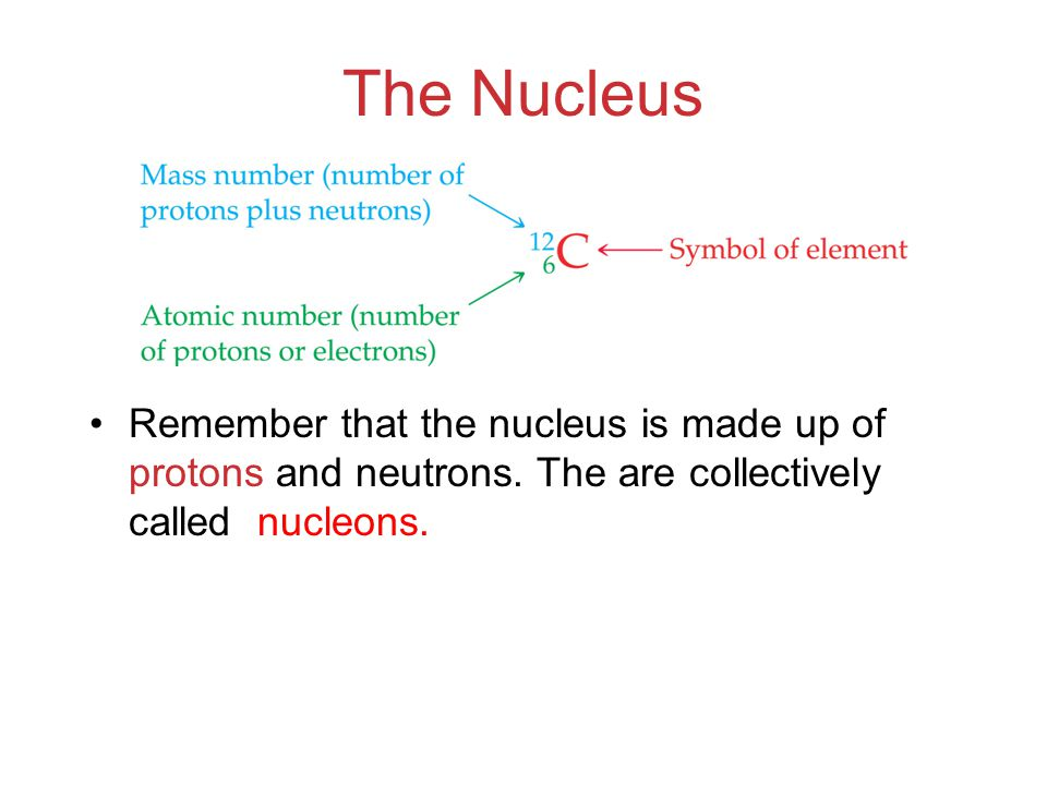 The Nucleus Remember that the nucleus is made up of protons and neutrons.