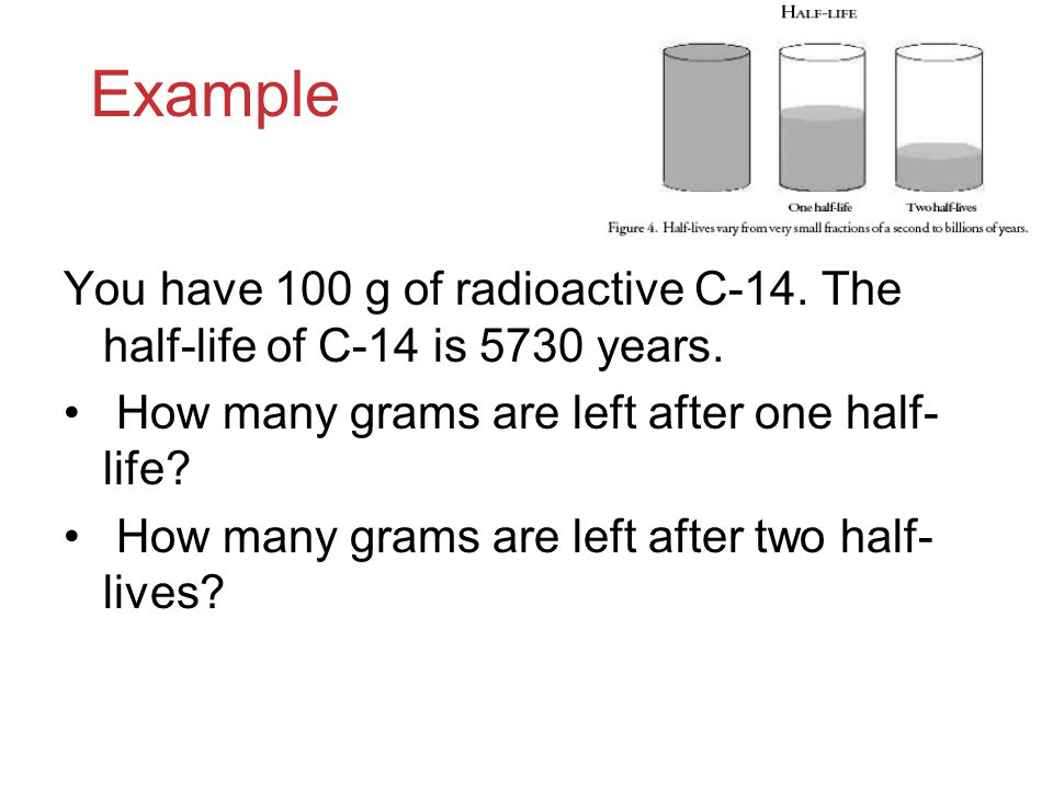 Example You have 100 g of radioactive C-14. The half-life of C-14 is 5730 years. How many grams are left after one half-life
