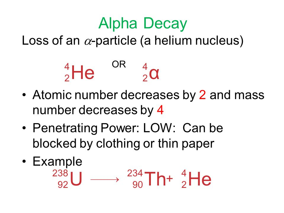 He α U Th He Alpha Decay Loss of an -particle (a helium nucleus)