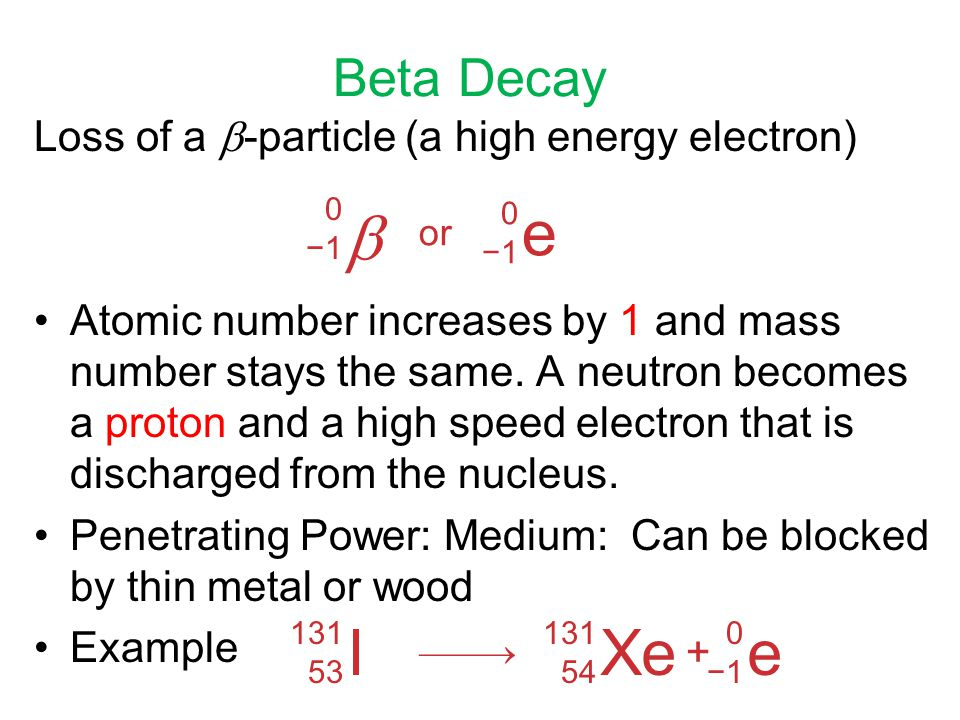  e I Xe e Beta Decay Loss of a -particle (a high energy electron)