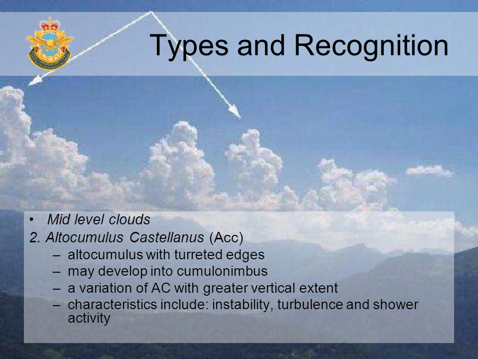 Types and Recognition Mid level clouds