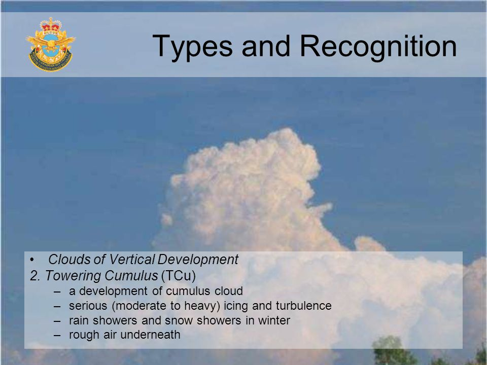Types and Recognition Clouds of Vertical Development