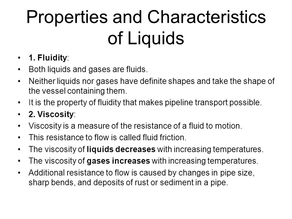 Properties and Characteristics of Liquids
