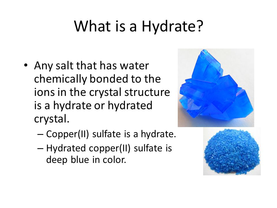 hydrated copper sulfate formula In order to determine this, we weighed the mass of copper (ii) sulfate, boiled it for about 10 minutes until it became an anhydrous salt, then found the weight of its anhydrous salt and the water, by subtracting the weight before heating from the result, in the hydrate.