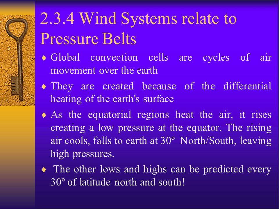 2.3.4 Wind Systems relate to Pressure Belts