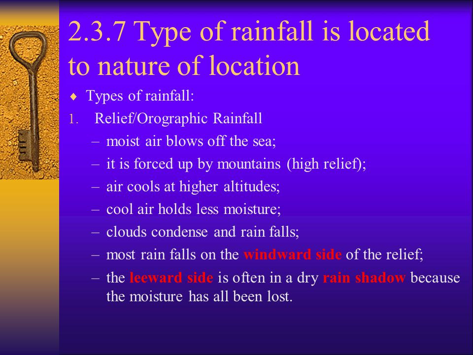 2.3.7 Type of rainfall is located to nature of location
