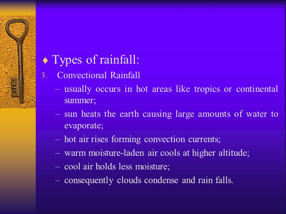 Types of rainfall: Convectional Rainfall