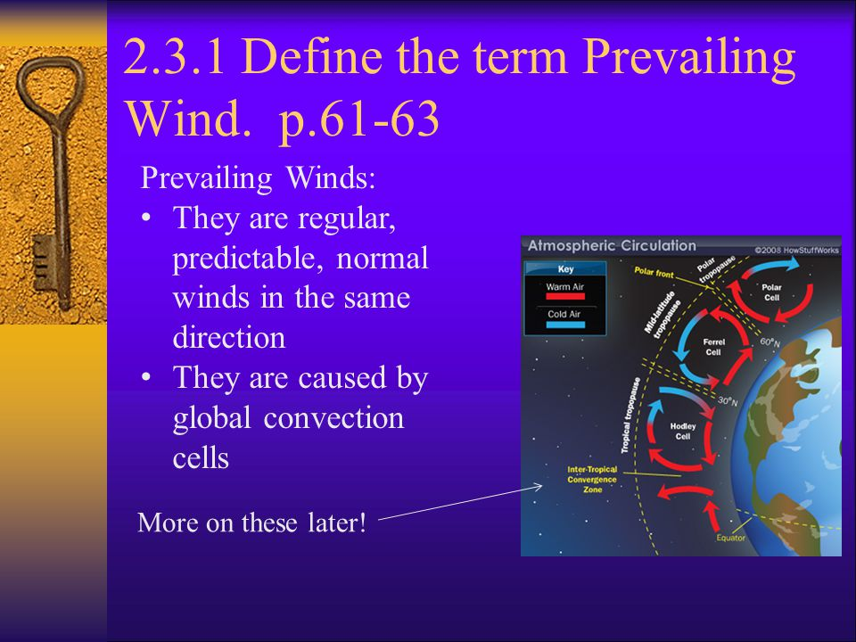 2.3.1 Define the term Prevailing Wind. p.61-63