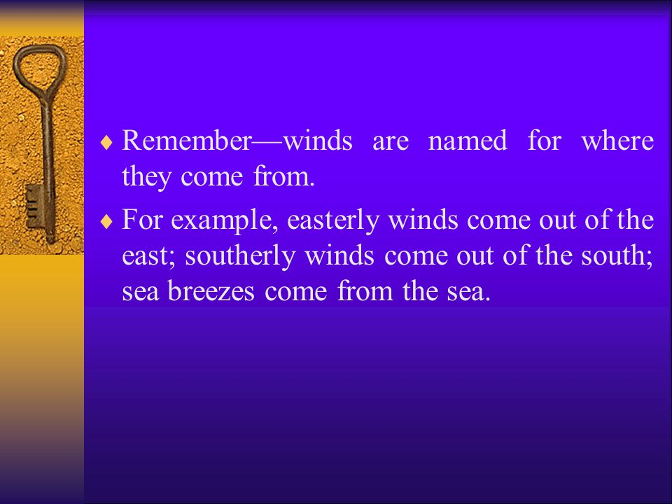 Remember—winds are named for where they come from.