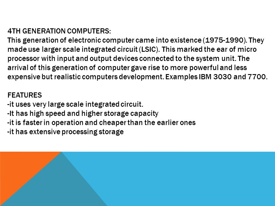 4TH GENERATION COMPUTERS: This generation of electronic computer came into existence ( ).