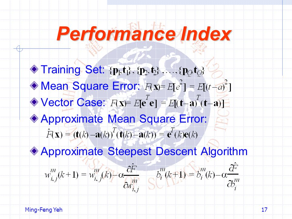 Performance Index Training Set: Mean Square Error: Vector Case:
