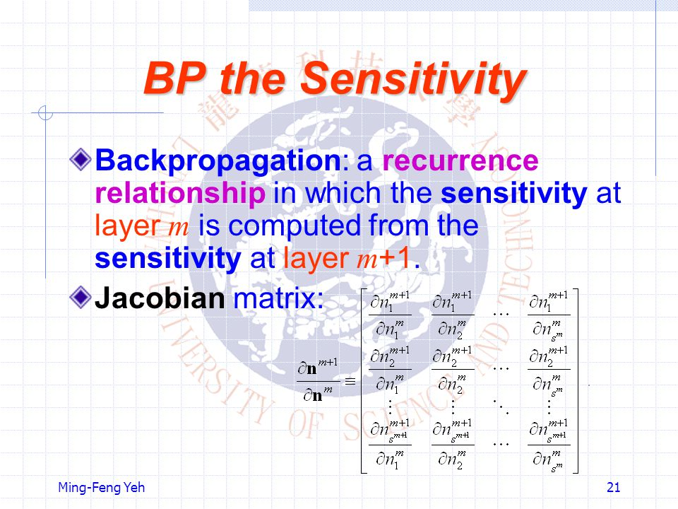 BP the Sensitivity Backpropagation: a recurrence relationship in which the sensitivity at layer m is computed from the sensitivity at layer m+1.