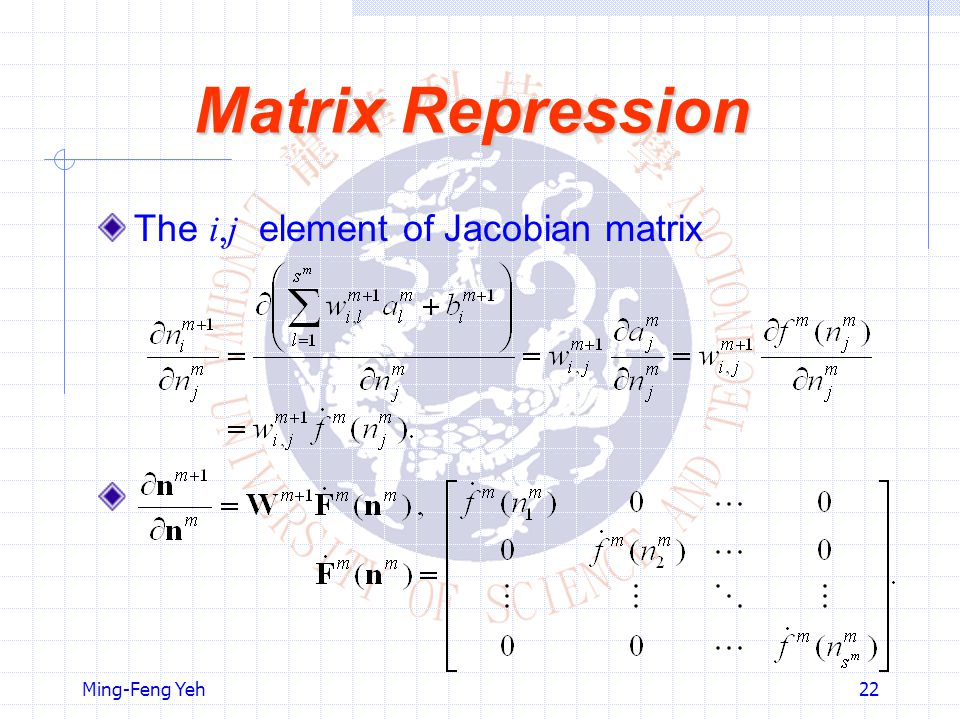 Matrix Repression The i,j element of Jacobian matrix Ming-Feng Yeh