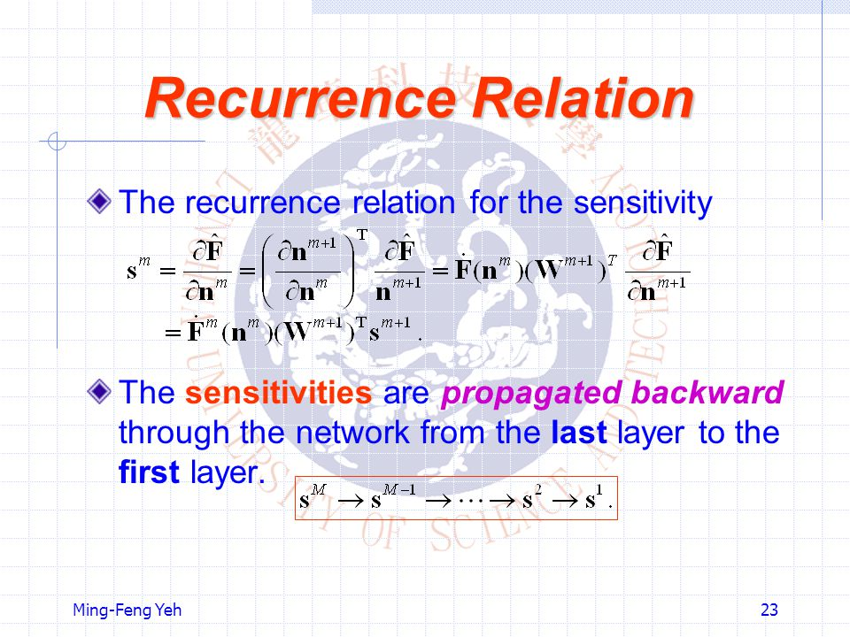 Recurrence Relation The recurrence relation for the sensitivity