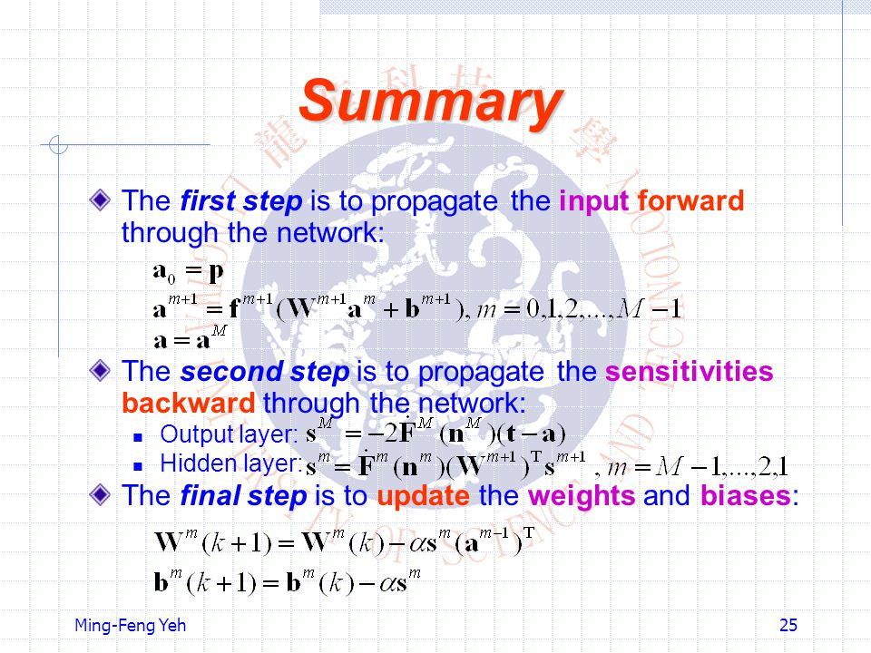 Summary The first step is to propagate the input forward through the network: