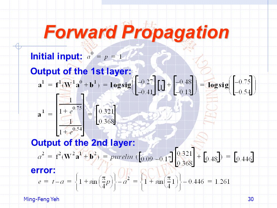 Forward Propagation Initial input: Output of the 1st layer: