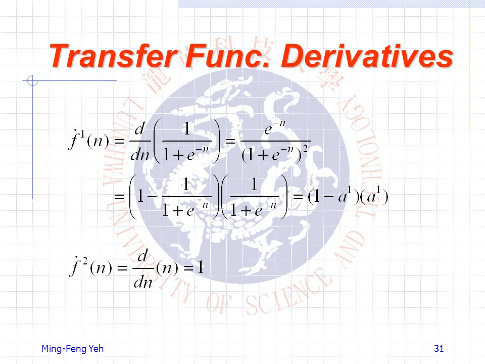 Transfer Func. Derivatives