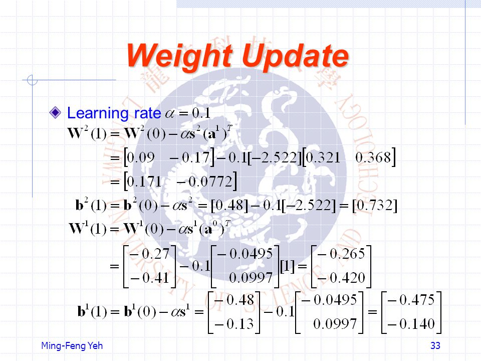 Weight Update Learning rate Ming-Feng Yeh