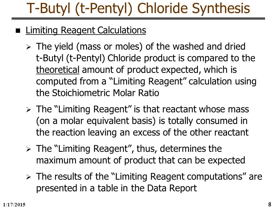 synthesis of t pentyl chloride Experiment 5a and 5b t-pentyl chloride (exp 5a) and 4-methylcyclohexene (exp  5b) according pavia et al introduction to organic laboratory techniques.