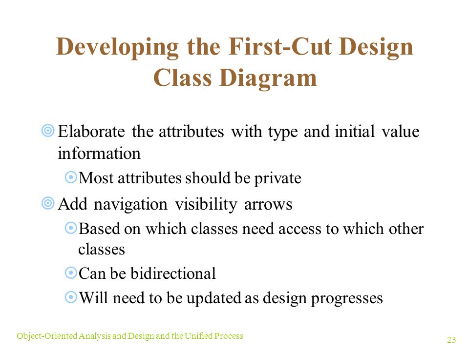 Objectives explain the purpose and objectives of object oriented developing the first cut design class diagram ccuart