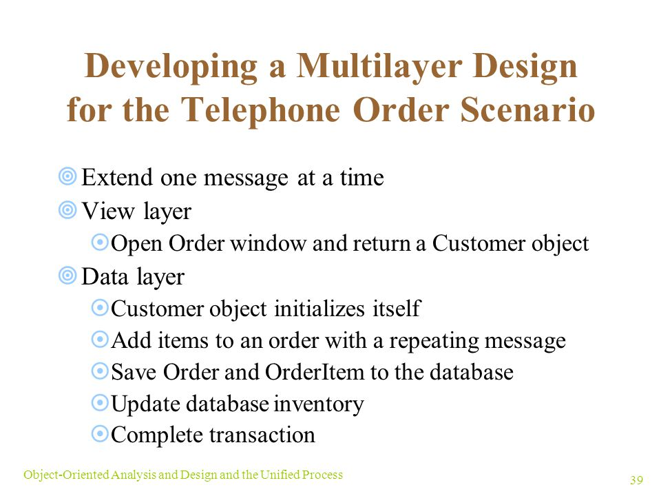 Developing a Multilayer Design for the Telephone Order Scenario