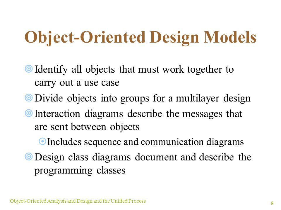 Object-Oriented Design Models