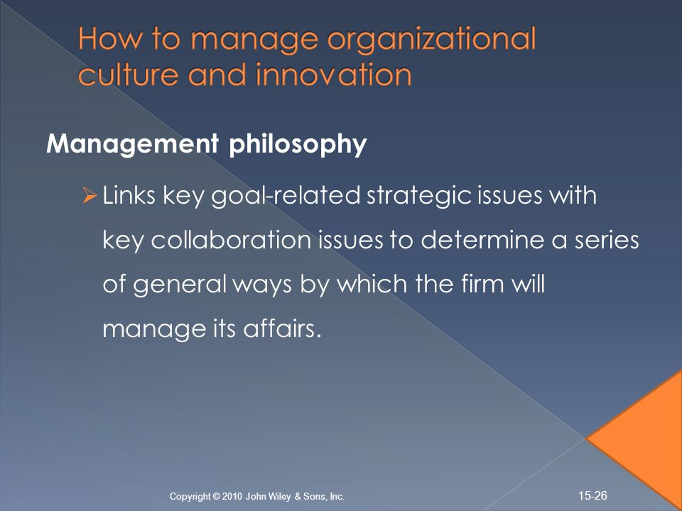culture and innovation in organizations Factors affecting organization culture  perception and even the thought process of the employees affect the organization culture example - organizations which.