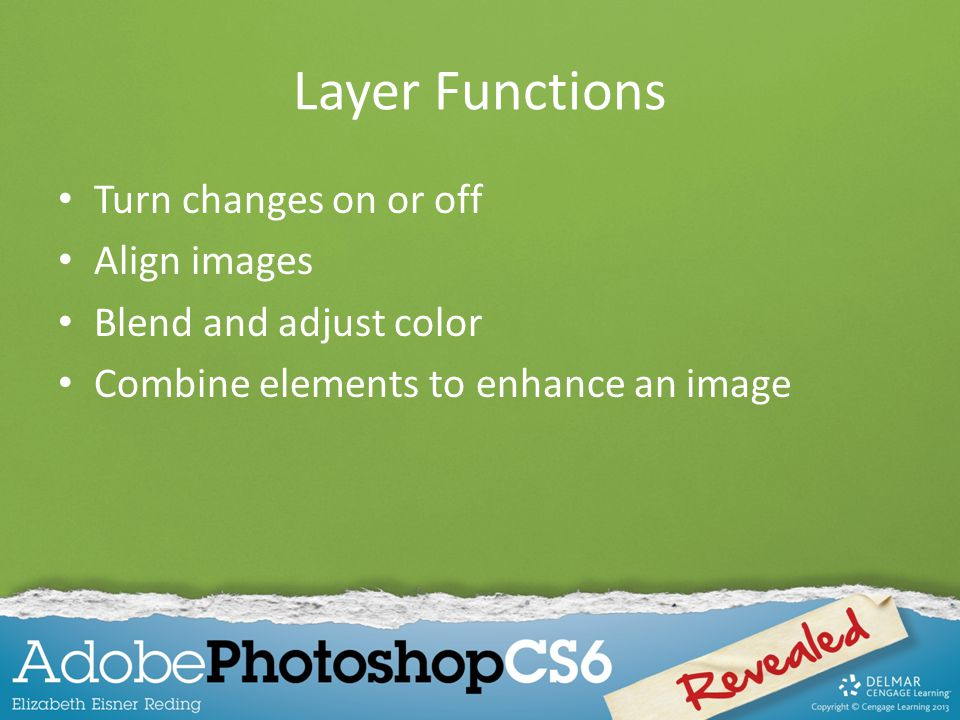 Layer Functions Turn changes on or off Align images