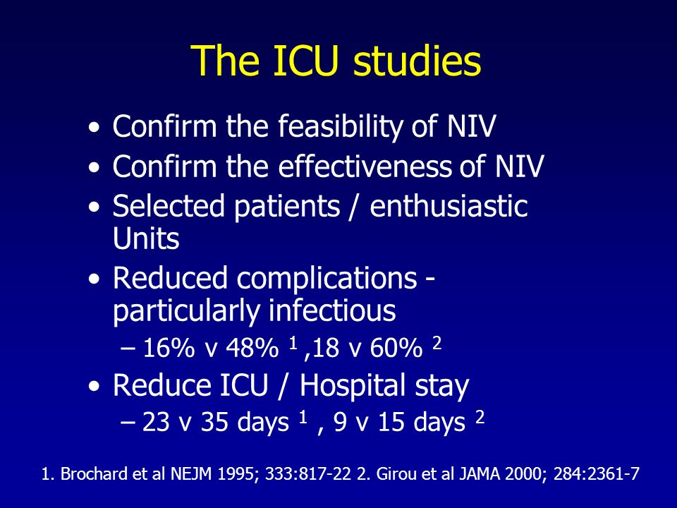The ICU studies Confirm the feasibility of NIV