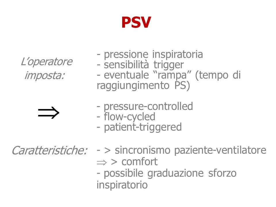  PSV L'operatore imposta: Caratteristiche: - pressione inspiratoria