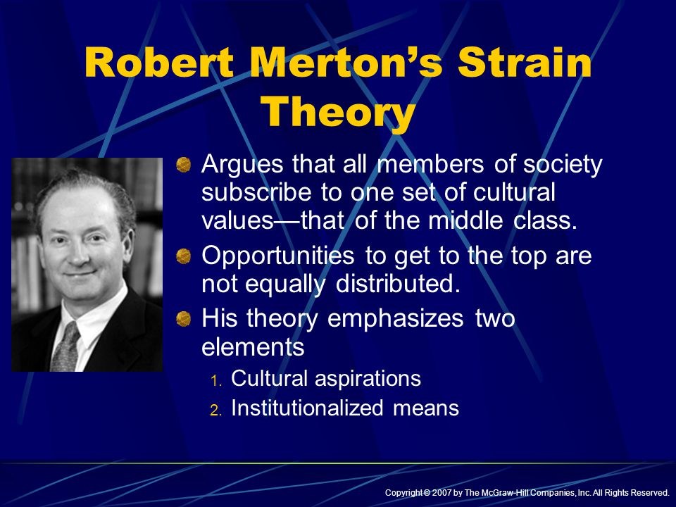 robert merton stain theory Strain theory was created from the work of durkheim and merton and derived from the theory of anomie durkheim concentrated on the reduction of societal control and the strain that was caused at the individual level, and merton analyzed the cultural connection that is present between the individual and the standards of society.