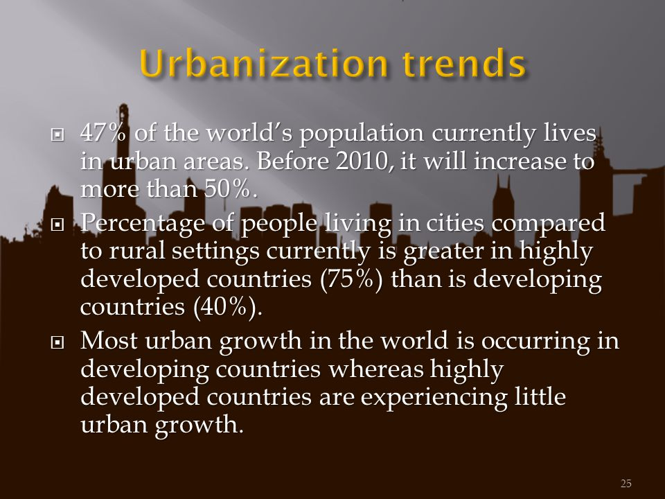 Urbanization trends 47% of the world's population currently lives in urban areas. Before 2010, it will increase to more than 50%.