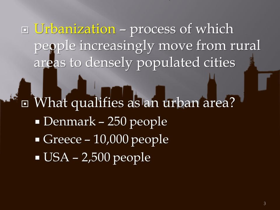 What qualifies as an urban area