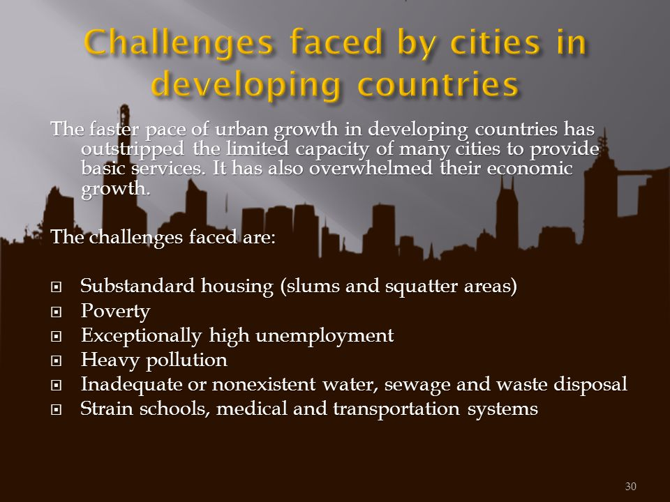 Challenges faced by cities in developing countries